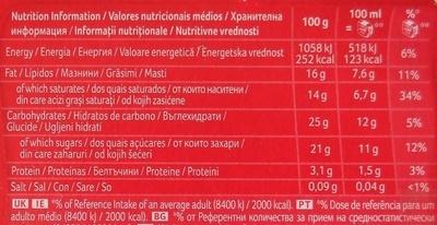Viennetta Chocolate - Nutrition facts - pt