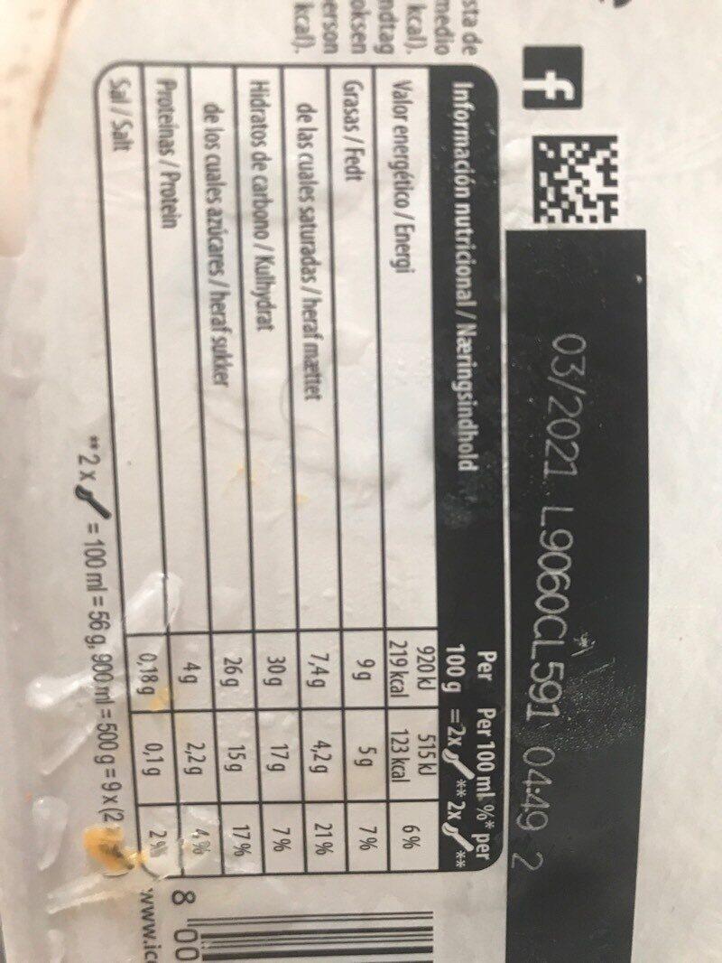 Helado de tres chocolates tarrina - Información nutricional