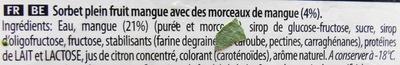 Sorbet, Plein fruit-Vol fruit, Mangue Mango - Ingredienti - fr