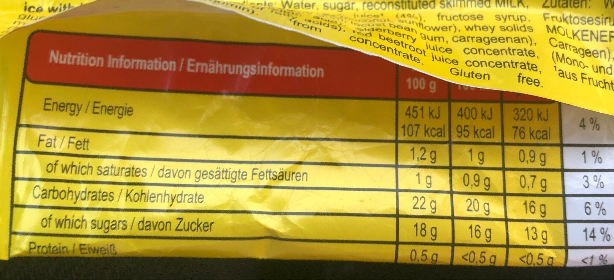 Twister - Informations nutritionnelles