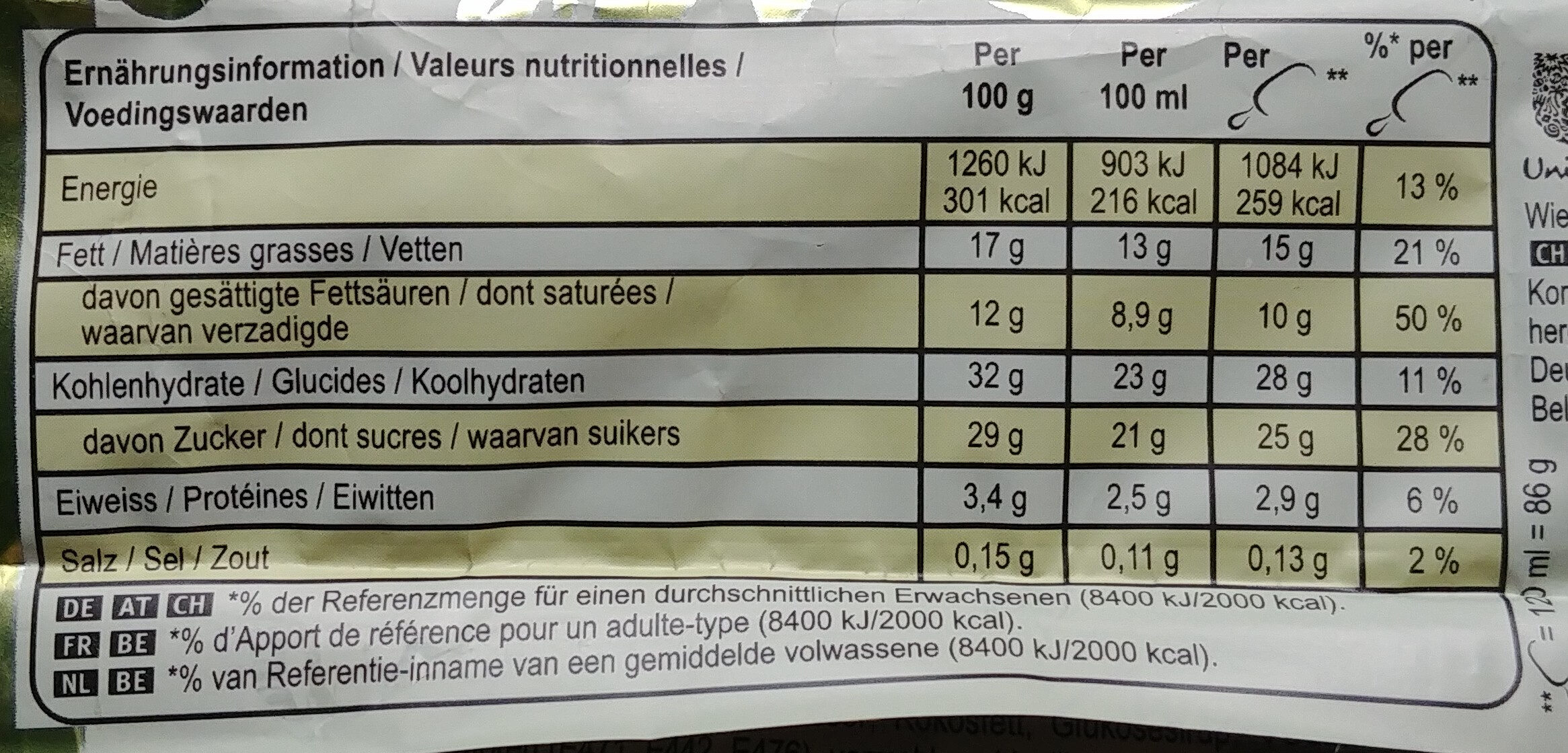 White - Informations nutritionnelles - fr