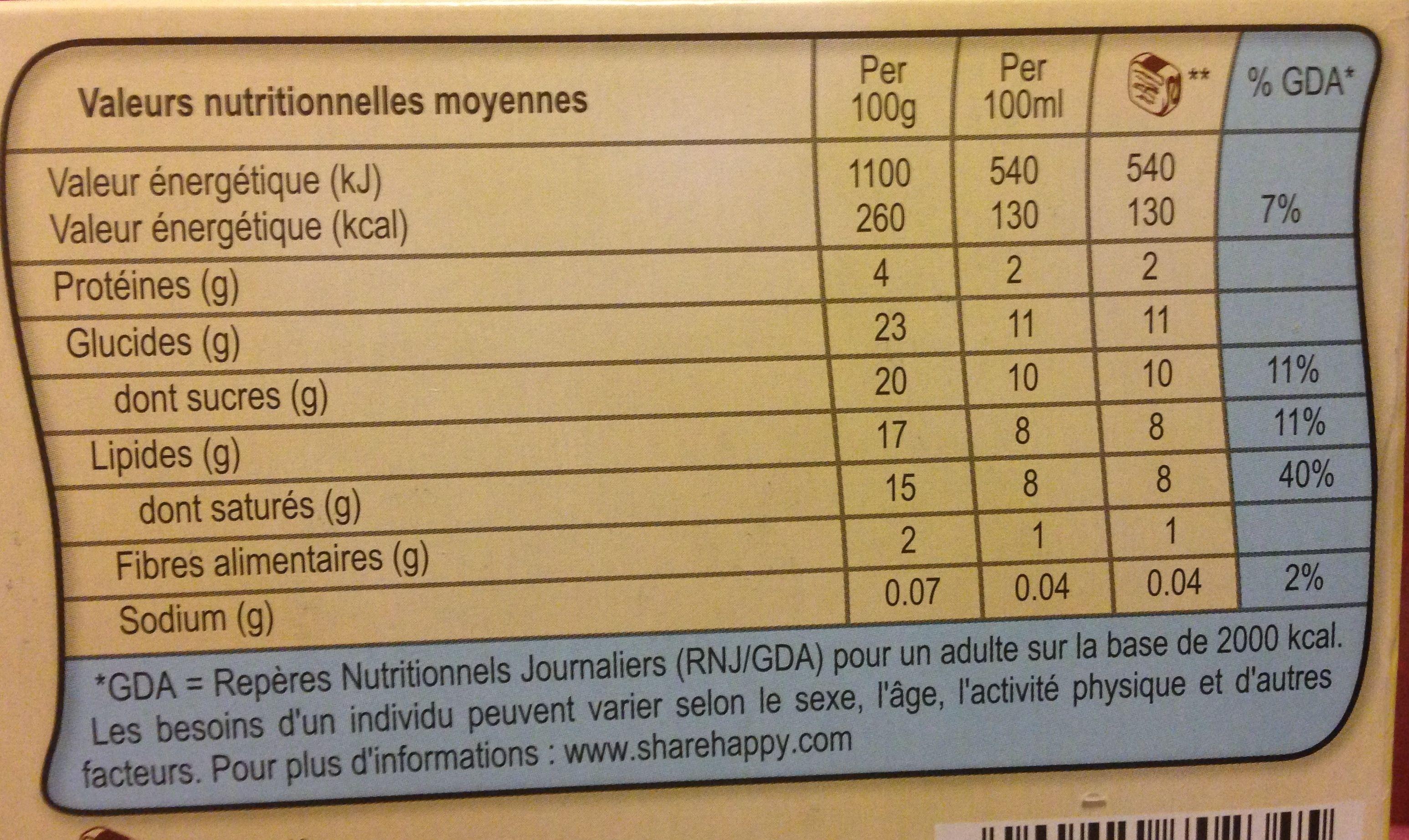 Viennetta chocolat - Informations nutritionnelles