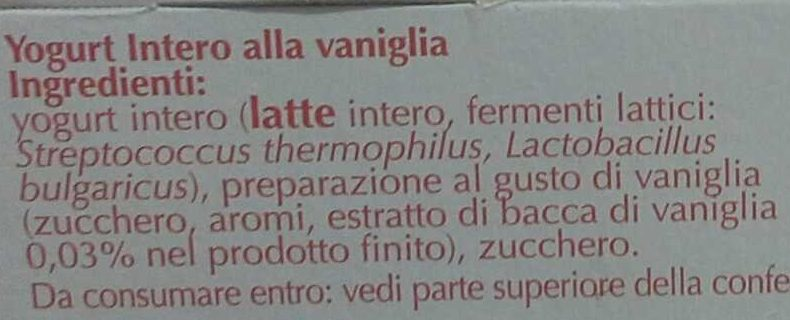 Yogurt intero Vaniglia cremoso - Ingredients