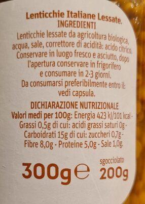Lenticchie - Informazioni nutrizionali - it