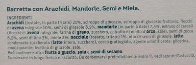 Barrette - arachidi mandorle semi miele - Ingrédients - it