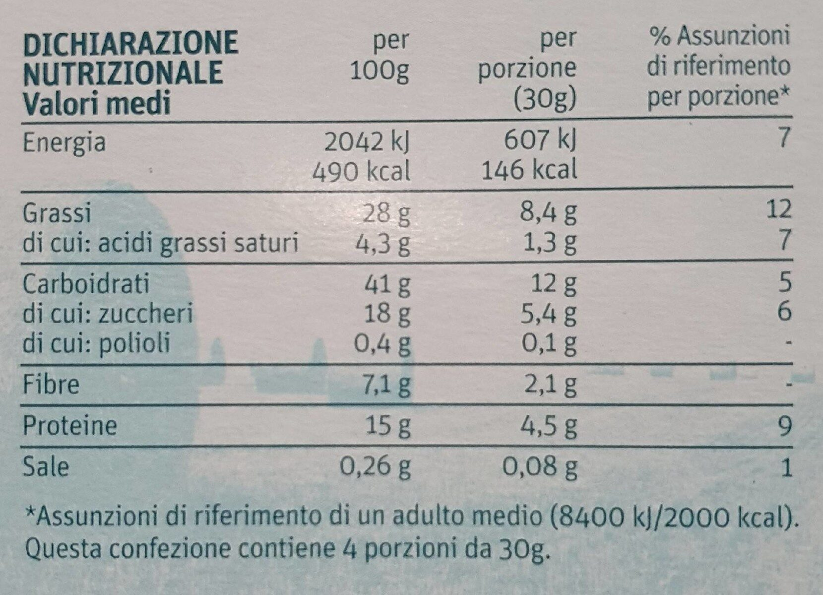 Barrette - arachidi mandorle semi miele - Informations nutritionnelles - it
