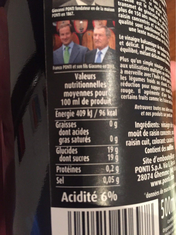 Vinaigre balsamique de mod ne igp ponti 500 ml e - Vinaigre balsamique calorie ...