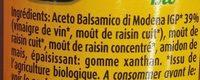 Crème Gastronomique Bio au Vinaigre Balsamique de Modène IGP - Ingredients