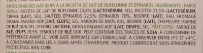 Ravioli Ricotta épinards 250g - Ingredienti - fr