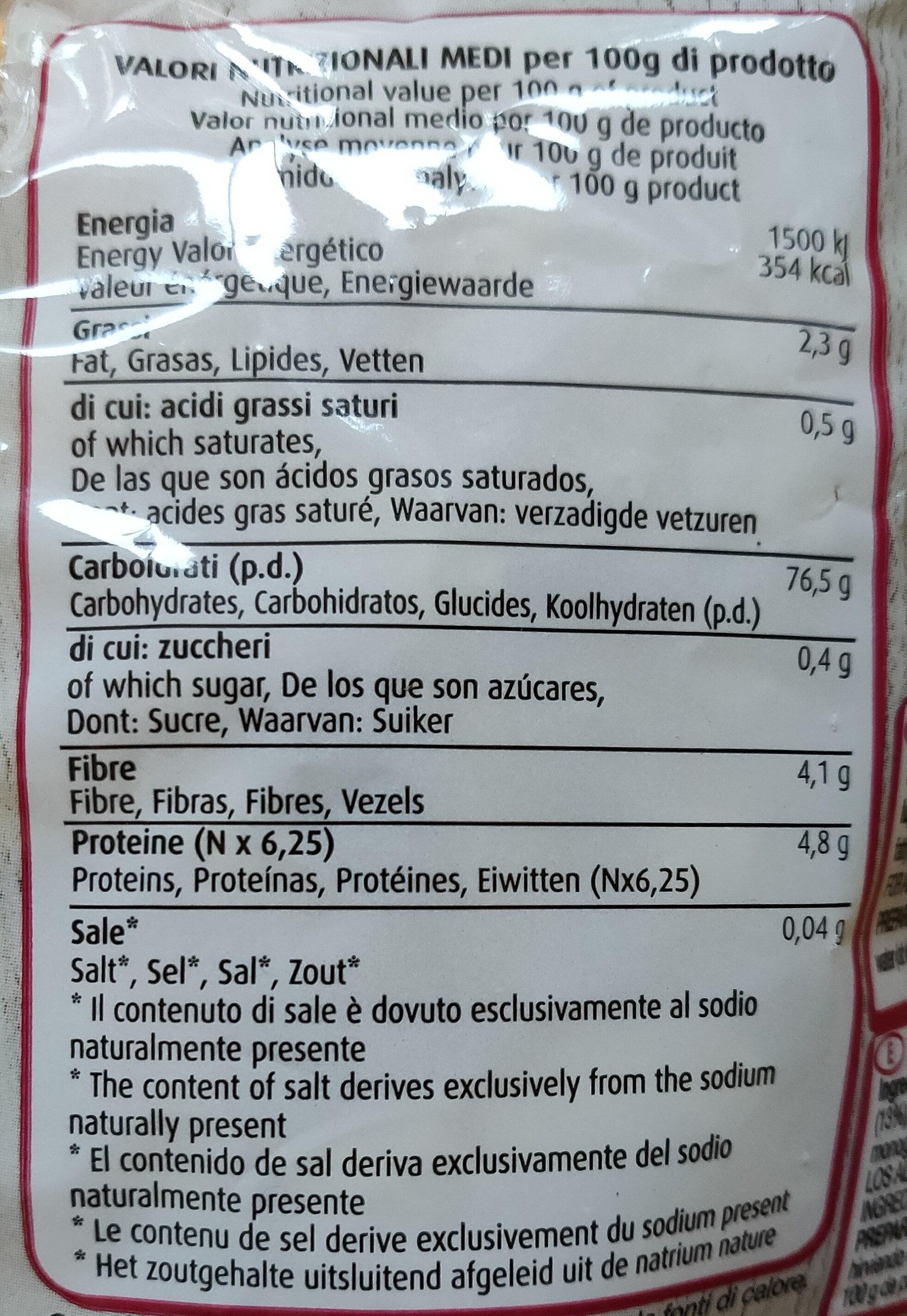 Fusilli - Nutrition facts