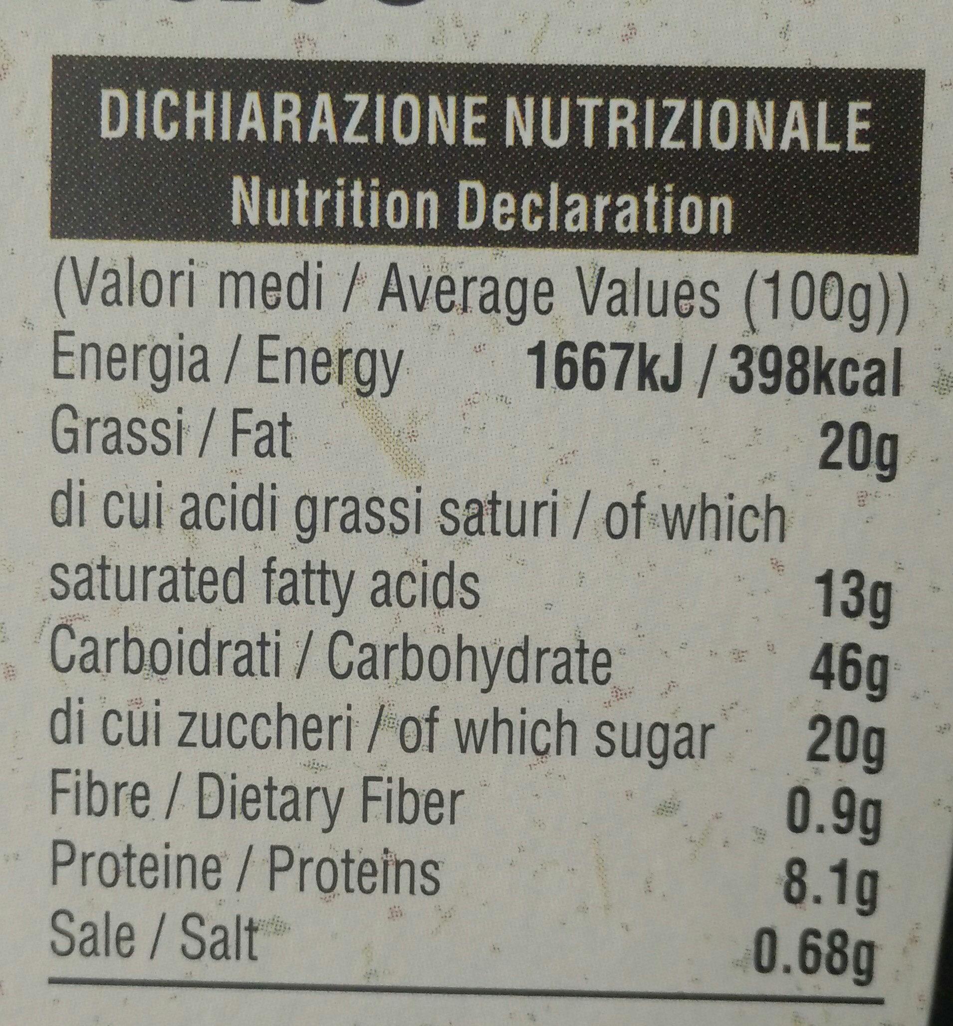 Pandorino classico - Informations nutritionnelles