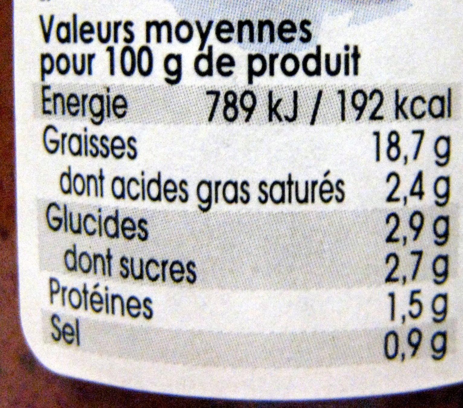 Sauce aux olives et tomates Sacla - Voedingswaarden