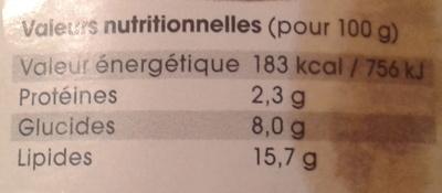 Caviar de tomates à l'ail - Voedingswaarden - fr