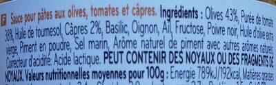Sauce olive e pomodoro - Ingrédients - fr
