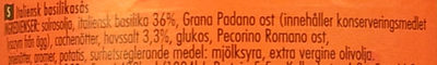 Pesto alla genovese - Ingredients - sv