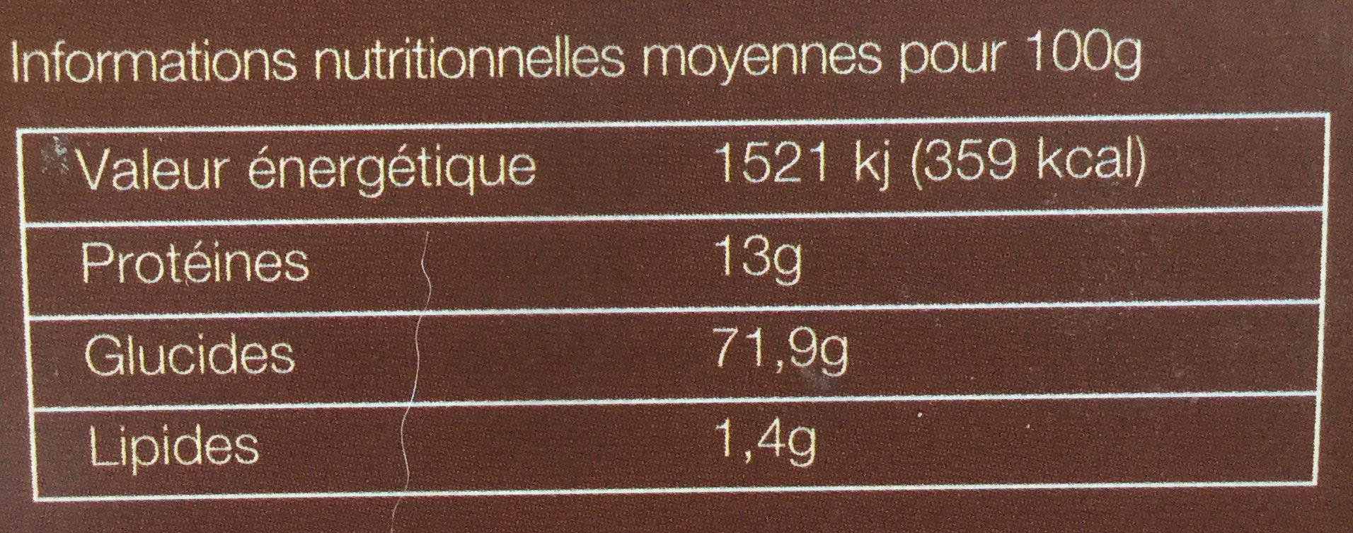 Fusilloni - Informations nutritionnelles