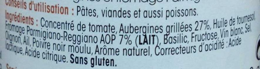 Sauce Aubergines alla parmigiano - Ingrédients - fr