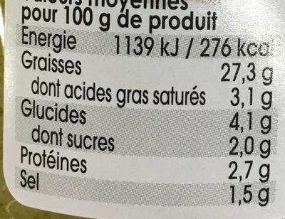 Asperges Vertes en Sauce et Morceaux - Nutrition facts - fr
