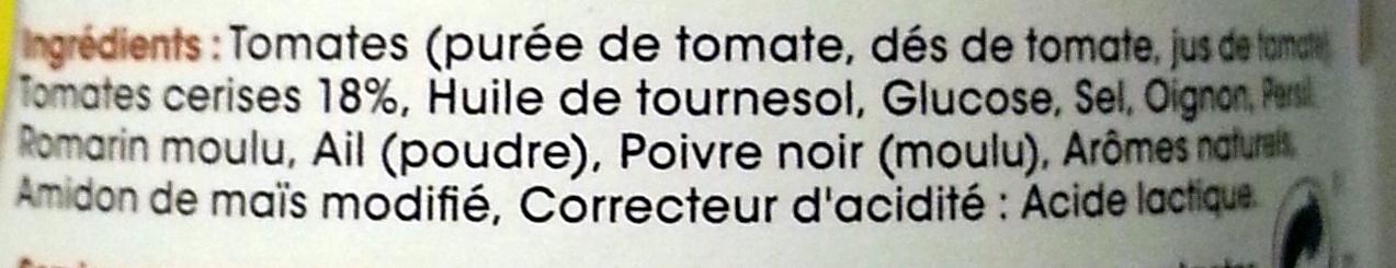 Sauce aux Tomates Cerises & Romarin - Ingrédients