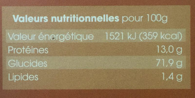 Pennoni - Informations nutritionnelles - fr