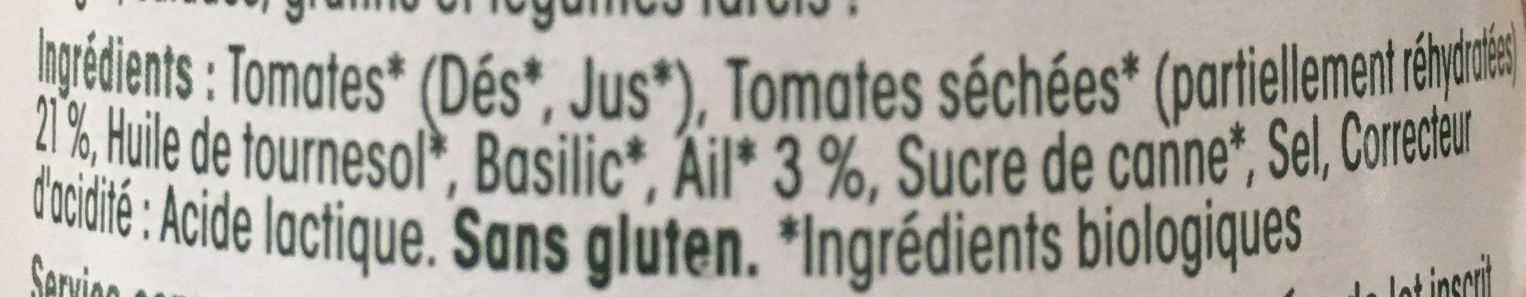 Sauce aux tomates séchées et à l'ail bio sans gluten Sacla - Ingredients - fr