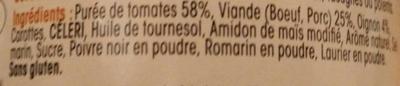 Sauce Bolognese - Ingrédients