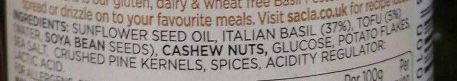Sacla' Vegan Basil Pesto - Ingredients - en