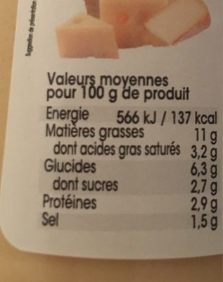 Sacla 4 formaggi - Informations nutritionnelles - fr