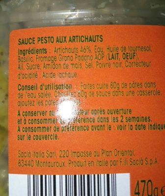 Pesto aux artichauts Saclà - Ingredients - fr