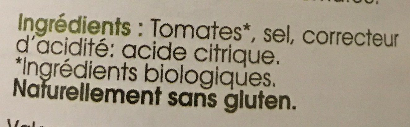 Pulpe de tomate - Ingredients - fr