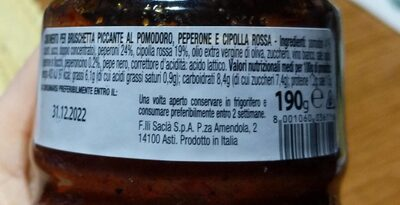 Bruschettina al peperoncino - Informazioni nutrizionali - it