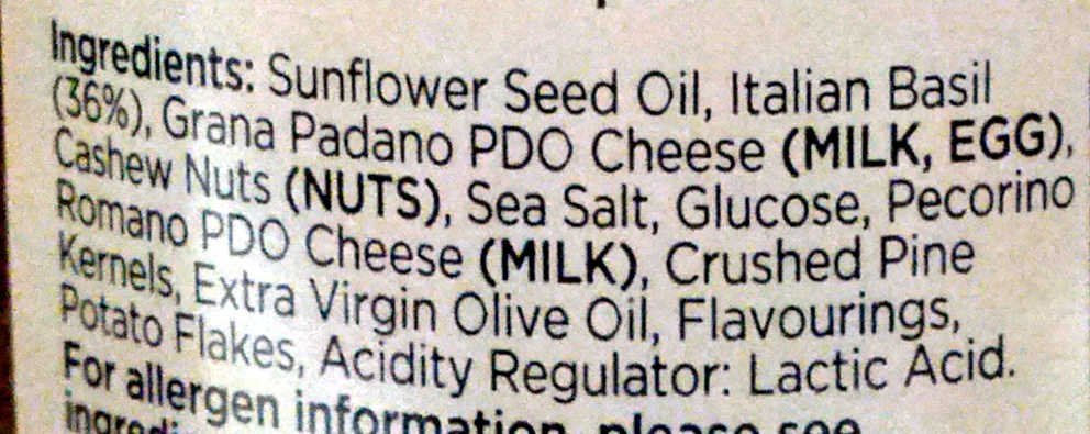 Sauce pesto alla genovese - Ingredients - fr