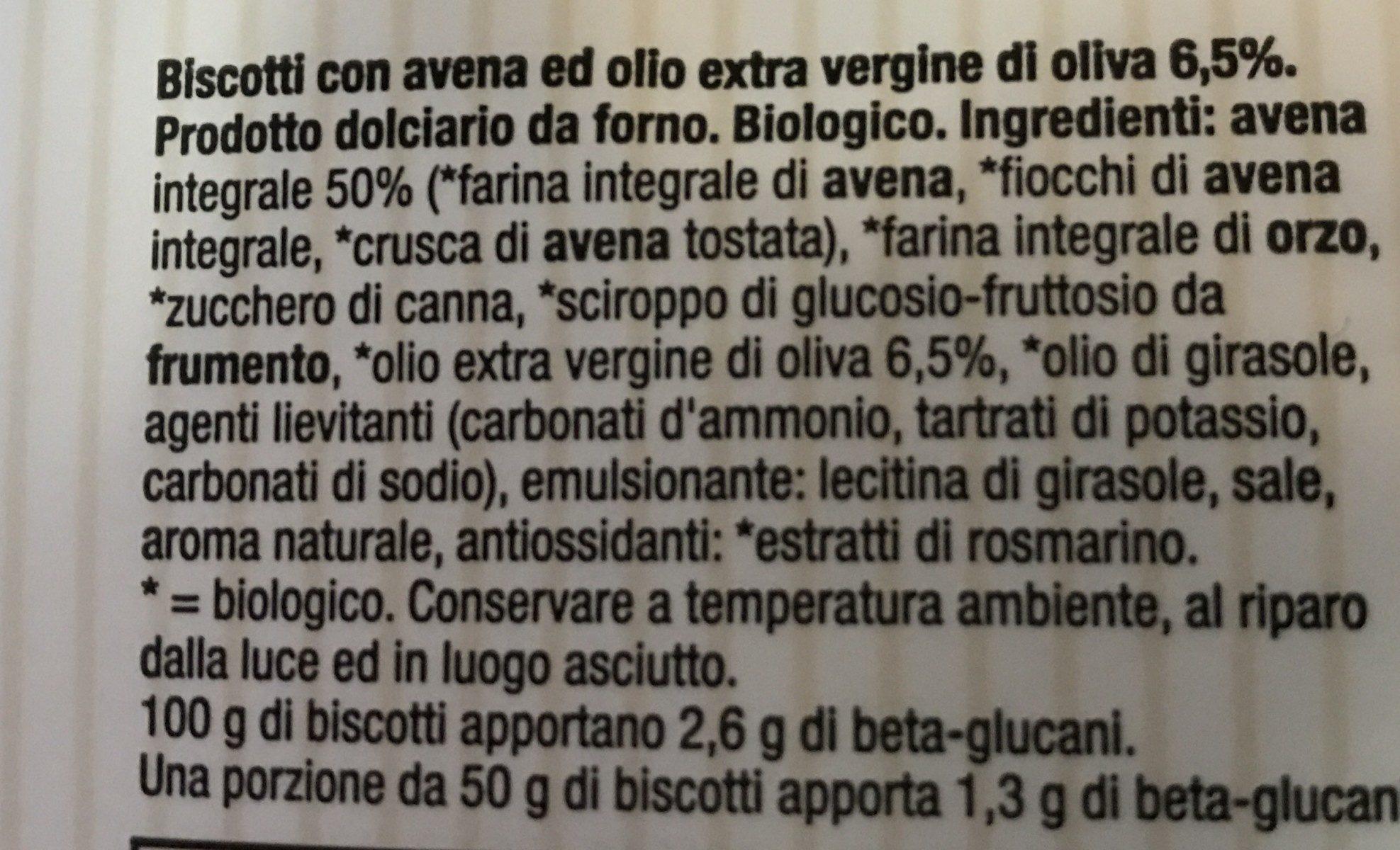 Biscotti integrali avena - Ingredientes