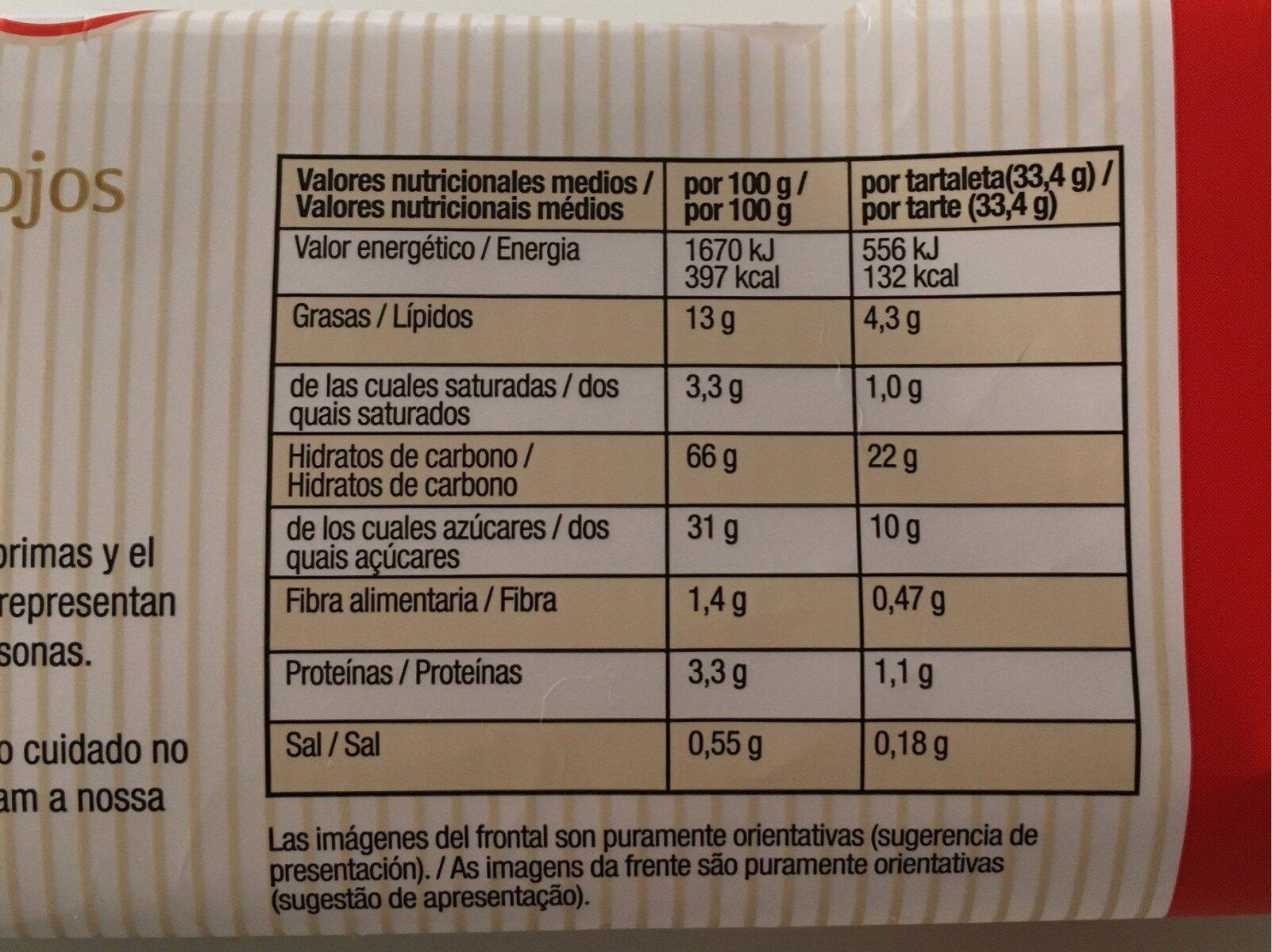 Tartaleta frutos rojos - Nutrition facts - es