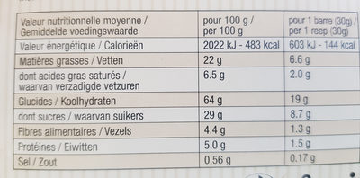 Barres quinoa fourrées au chocolat - Valori nutrizionali - fr