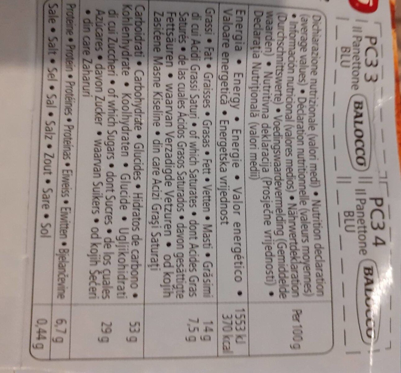 Il Panettone, ricetta tradizionale (recette traditionnelle) - Nutrition facts - fr