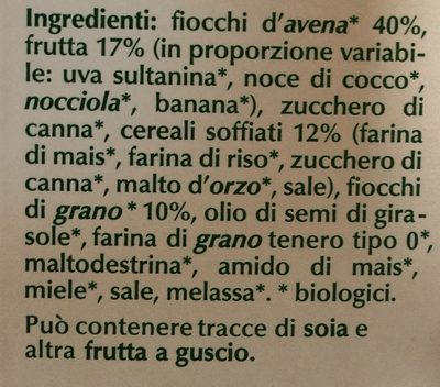 Muesli croccante biologico - Ingredients - it