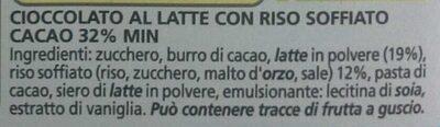 Cioccolato al latte con riso soffiato - Ingrédients - it