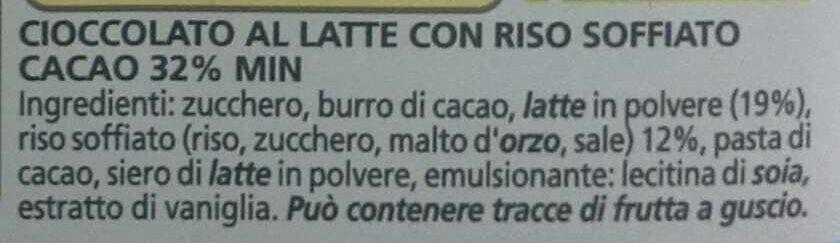 Cioccolato al latte con riso soffiato - Ingrediënten - it