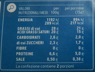 Formaggio fresco spalmabile - Nutrition facts