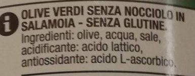 Olive verdi snocciolate - Ingredienti - it