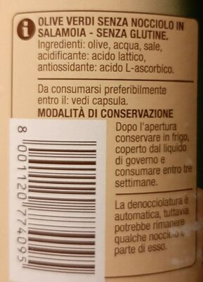 Olive verdi snocciolate - Valori nutrizionali - it