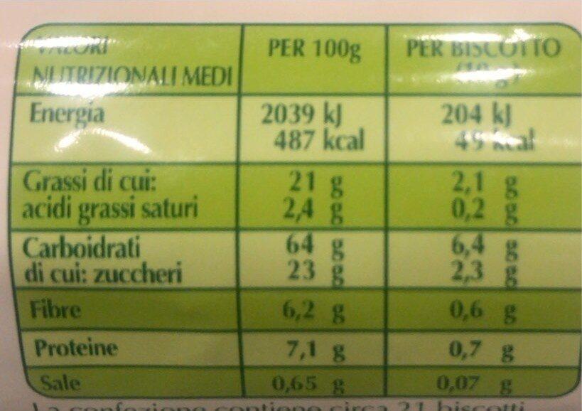 Frollini ai cereali con frutta - Valori nutrizionali - it