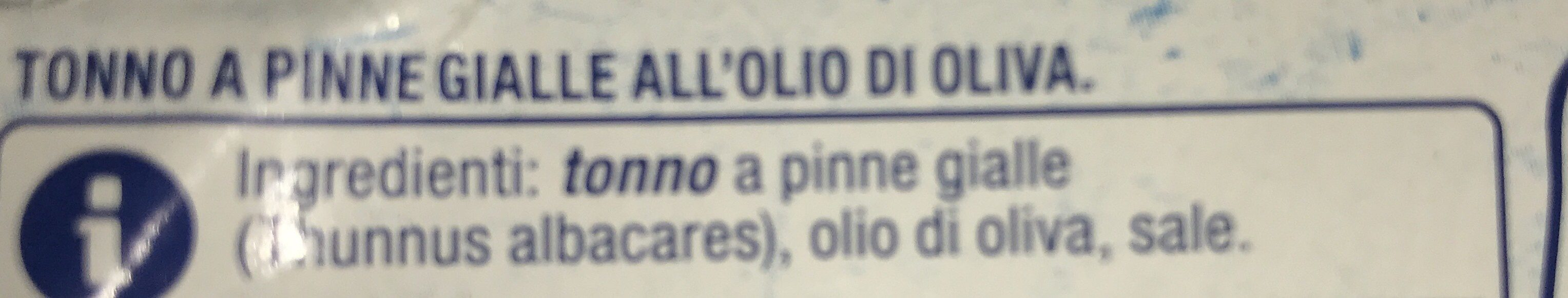 Tonno a pinne gialle all'olio di oliva - Ingrediënten