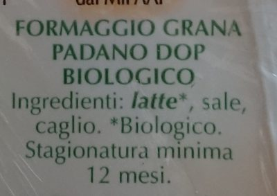 Grana Padano DOP biologico - Ingredients - it