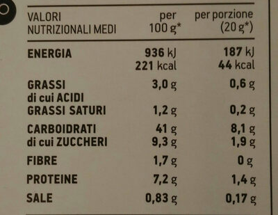 Farina per pancakes - Nutrition facts