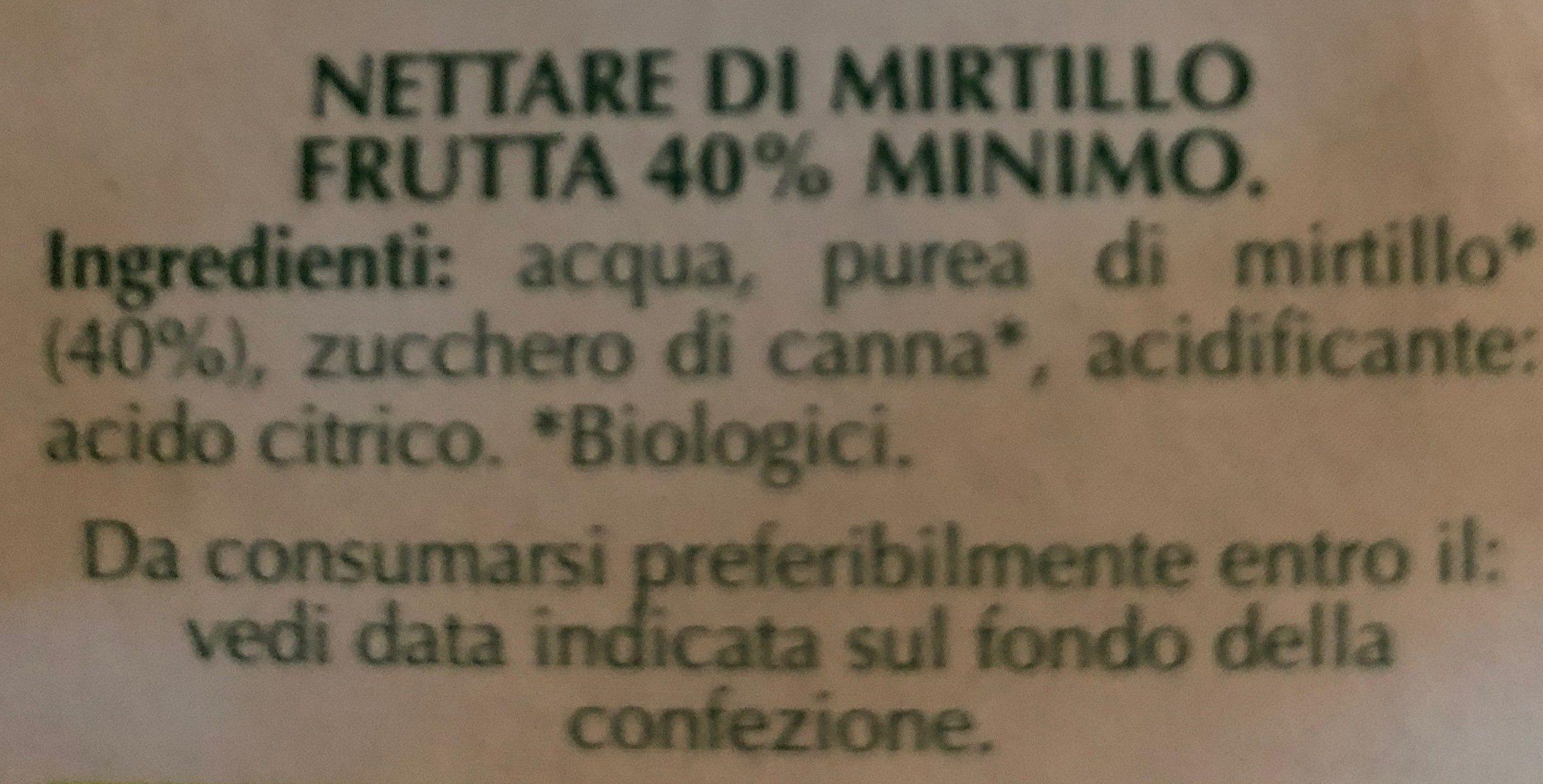 Nettare di mirtillo - Ingredients - it