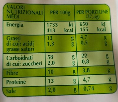 Crackers integrali biologici - Nutrition facts