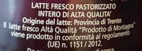 """Latte fresco alta qualità """"prodotto di montagna """" - Ingredienti - it"""
