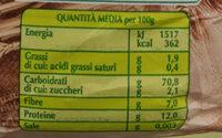 farina di grano tenero integrale biologica - Nutrition facts - it